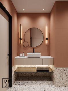 DE&DE/Apart hotel in the heart of Saint-Petersburg on Behance Washroom Design, Toilet Design, Bathroom Design Luxury, Bathroom Design Small, Bathroom Colors, Home Room Design, Home Interior Design, Interior Architecture, Interior Design Photography
