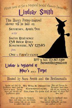 Harry Potter Bridal Shower Invitation by StationaryEtc on Etsy