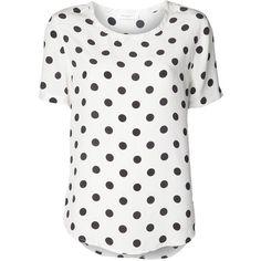 EQUIPMENT 'Riley' polka dot blouse ($265) ❤ liked on Polyvore featuring tops, blouses, shirts, t-shirts, blusas, short-sleeve shirt, short sleeve silk shirts, polka dot blouse, short sleeve blouse and white short sleeve blouse