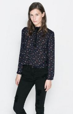 e6a23ea19dc302 New Fashion Za Brand Design Women s Long Sleeve O-Neck Bow chiffon Shirt  Casual Print Blouse Tops