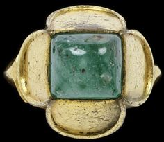 Italian quatrefoil ring, circa 1450-1500, gilt bronze with paste. Nice design that is still used now