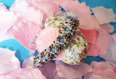 Handmade bracelet with Miyuki beads and crystals.
