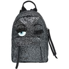 Chiara Ferragni Women Flirting Glitter Faux Leather Backpack ($495) ❤ liked on Polyvore featuring bags, backpacks, backpack, silver, rucksack bag, glitter backpack, glitter bag, chiara ferragni and zipper bag