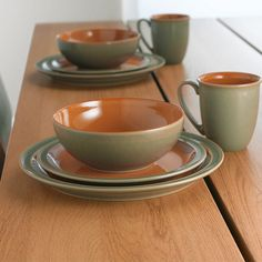 $52.50 Denby Duets Sage & Paprika Items Included: Dinner Plate, Salad Plate, Soup/Cereal Bowl, Large Mug  Coordinates with the Fire C