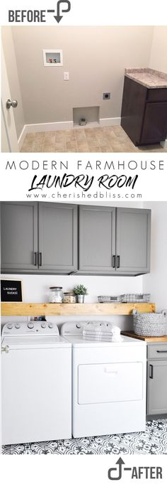 Home Improvement Do laundry in style in this Modern Farmhouse Laundry Room. Come see the transformation from builder grade to gorgeous on a low budget!