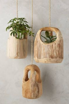 WE ♥ THIS!  ----------------------------- Original Pin Caption: Teak Wood Hanging Planter