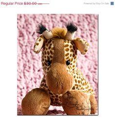 Pink Baby Girl Nursery Cuddles Giraffe by CrystalGaylePhoto, $18.00