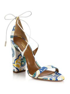 Aquazzura | White Lily Printed Leather Sandals | Lyst