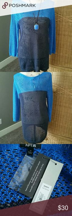 Apt.9 blue and navy 3/4 sleeve loose knit top This eye catching color block tunic top is royal blue and navy.  This flattering tunic looks amazing over your favorite cami, tank top or blouse.  100% acrylic Apt. 9 Tops Tunics