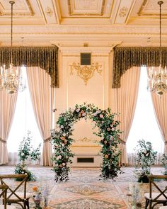 Wedding ceremony setup ornate room decorated with flowers and flower arch Wedding Programs, Wedding Events, Wedding Ceremony, Wedding Day, Wedding Arches, Wedding Blog, Creative Wedding Ideas, Elegant Flowers, Intimate Weddings