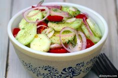 I make this Cucumber Tomato Salad at least once a week! So delicious & healthy!