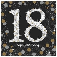 Pack of 16 Sparkling Celebration birthday small napkins. Buy Birthday party supplies now at Discount Party Supplies. Happy Birthday Writing, Happy Birthday 18th, 18th Birthday Party, Birthday Table, Birthday Woman, Art Birthday, Birthday Quotes, Birthday Greetings, Birthday Wishes