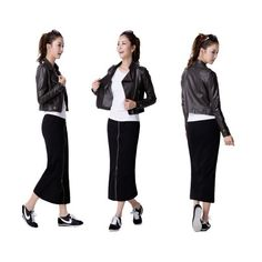 Korean Version Zipper Slim Long Skirt via Polyvore