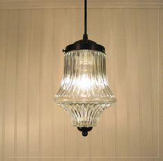 Cary's Port  LARGE Clear Holophane PENDANT Light by LampGoods, $109.00