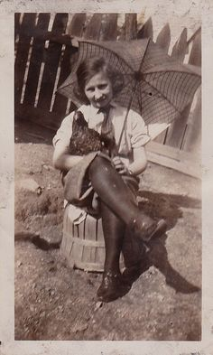 Vintage Antique Photograph Woman Sitting on Apple Crate With Umbrella & Chicken