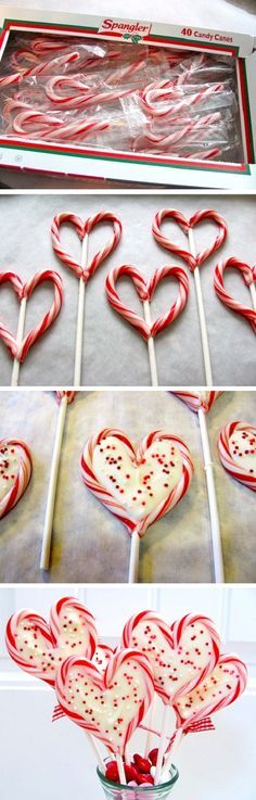 Candy Cane heart shaped lollipop. Could do this for valentines, Xmas Christmas yule, anniversary, or even a birthday if they really like peppermint. Just bake at 300F for 3 minutes, then quickly shape like a heart around a lollipop sucker stick. You could fill the suckers with white chocolate and sprinkles too, but I like just the plain candy cane sucker hollow in the middle.