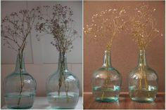 Interieur trend | Glazen vazen & flessen van gekleurd glas www.stijlvolstyling.com