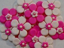 Edible Sugar Flowers - Blossoms x 20 - 3cm wide - ELECTRIC PINK & WHITE
