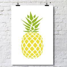 Affiche ananas.  Téléchargement instantané. Disponible dans différents formats (A2, A3, A4 et format carte postale).