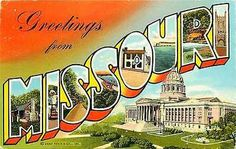 Missouri MO 1940s Large Letter Greetings from Missouri Antique Vintage Postcard