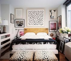 LE FASHION BLOG CHIC NEW YORK CITY BEDROOM LONNY MAGAZINE MICHELLE ADAMS FRAMED ART WALL PAINT DOT ART PRINT BLACK MINIMAL SWING ARM LAMPS L...