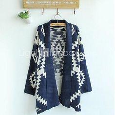 Women's New  Geometric Pattern Cardigan Sweater Wool Sweater Cardigan Outwear - USD $24.99