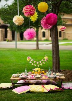 how to decorate for a birthday at a picnic table - Google Search