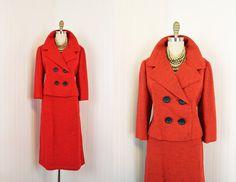 Vintage 50s Suit - 1950s Christian Dior Suit - Red Wool Silk Designer Couture Mad Men Princess Suit L XL - She Who Laughs Last. $578.00, via Etsy.