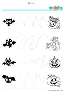 actividad-grafomotricidad-halloween-3 Halloween Worksheets, Preschool Worksheets, Kindergarten Activities, Preschool Activities, Bricolage Halloween, Halloween Infantil, Halloween 3, Halloween Crafts For Kids, Halloween Pumpkins