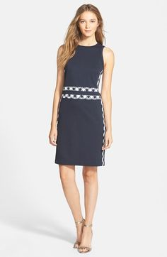 MICHAEL Michael Kors Contrast Trim Sleeveless Sheath Dress available at #Nordstrom $150. (XL only)
