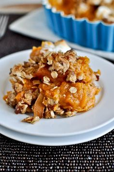 This lightened up sweet potato casserole is seriously perfect for fall. #recipe from howsweeteats.com