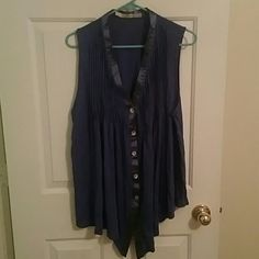 Blue pleated button up tank top Blue pleated button up tank top. Bought it from Nordstrom. Worn a handful of times. Gibson Tops Tank Tops
