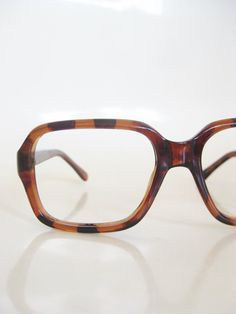 127ca20558e 1970s Oversized Boxy Eyeglasses Glasses Tortoiseshell Tortoise Shell Brown  Sunglasses Womens Mens Unisex 70s Dyor French France