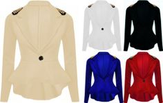 NEW LADIES SPIKE STUDDED PEPLUM FRILL TAIL SEXY TOP JACKET/ BLAZER/ COAT 8-14