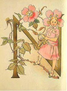 Ottilia Adelborg - Alphabet M Decorative Alphabet Letters, Alphabet Art, Vintage Book Art, Illustration, Illuminated Letters, Fairy Art, Retro Art, Lettering Design, Paper Art