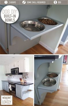 Like this as studies show its better for the dog not to bend down to eat/drink. Thinking we could do this with our wall. DIY: BUILT-IN DOG BOWLS