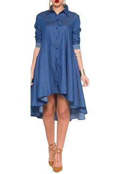 Total Elegance! Long Sleeved Her Trendy Denim Midi Dress