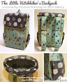 Tutorial: Cute Little Kids/Childrens Hitchhiker's Backpack Free sewing pattern instructions, lots of pictures Sewing Projects For Beginners, Sewing Tutorials, Sewing Crafts, Sewing Patterns, Diaper Bag Tutorials, Diaper Bag Patterns, Backpack Tutorial, Backpack Pattern, Diy Backpack