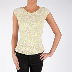 Willow & Clay Women's Contemporary Neon Lace Peplum Top #VonMaur #Neon #Floral #Lace #WillowClay