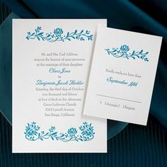 Love the combination of Ultramarine and Titanium on this Letterpress wedding invitation.
