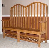 "After lugging my son's crib from Florida to Texas, and then to PA, we came to find out that the crib was ""unsafe"" and illegal to sell. Instead of throwing it out, my hubby made this BEAUTIFUL bench out of it for my son."