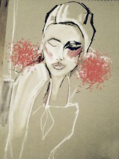 cream red beige fashion illustration print drawing painting