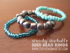 "✔️ use // ""stretchy stackable seed bead rings"" -- hmm . a project I might actually finish? Diy Beaded Rings, Seed Bead Bracelets Diy, Diy Jewelry Rings, Seed Bead Jewelry, Seed Beads, Beaded Jewelry, Beaded Bracelets, Jewelry Making, Jewelry Ideas"