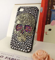 Skull Punk iPhone 5 Case Crystals Skull Steam Punk Chameleon Gold / Purple Studded Eyes Handmade iPhone 5 Case Studded Bling Rhinestone