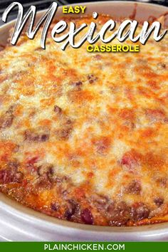 Easy 30-Minute Mexican Casserole – tortilla chips, taco meat, beans, tomatoes, and cheese – top with your favorite taco toppings! Can make ahead and freeze for later. Great kid-friendly Mexican recipe!! #casserole #dinner #maindish #groundbeef #tacos #chips Easy Delicious Recipes, Delicious Desserts, Yummy Food, Easy Casserole Recipes, Casserole Dishes, Mexican Dishes, Mexican Food Recipes, Mexican Chicken Casserole, Tomato And Cheese