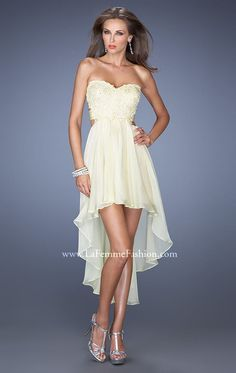 Find this Pin and more on Dresses and gowns. 2015 La Femme 19716 Sexy Back  Lemon High Low Homecoming Dress