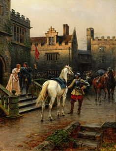 A Knight's Farewell (x) Ernest Crofts Late 19th C.