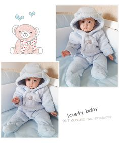 46dd36dde5064 Tender Babies Newborn baby clothes bear baby girl boy rompers hooded plush  jumpsuit winter overalls for kids roupa menina