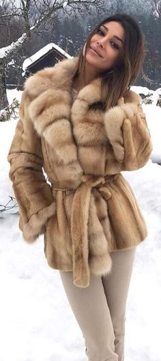 #winter #outfits  brown fur coat