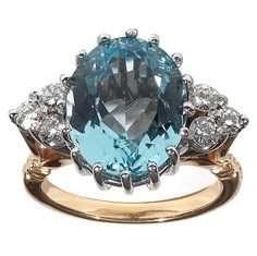 7.33 Carat Aquamarine Diamond Gold Ring | From a unique collection of vintage cocktail rings at https://www.1stdibs.com/jewelry/rings/cocktail-rings/